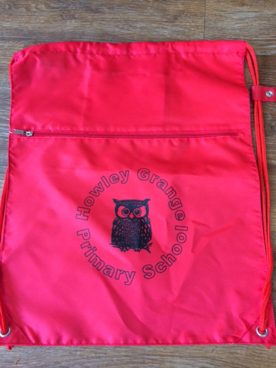Zipped PE Bag printed with School logo.